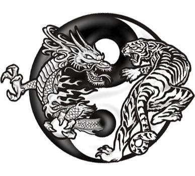 пример эскиза татуировки инья янь с животными