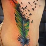 разноцветное перо и птицы - тату перо фото