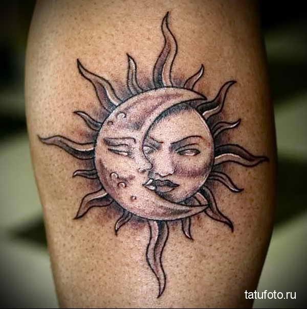 татуировка солнце в поцелуе с луной