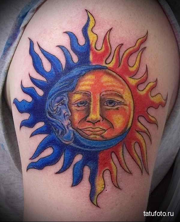 татуировка солнце и месяц