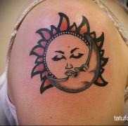 татуировка солнце на плече для девушки