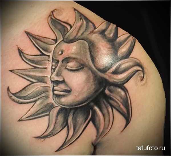 татуировка солнце с лицом будды