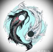 эскиз для необычной тату с рыбой и инь-янь – картинка