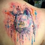 грустная кошка - тату акварель фото