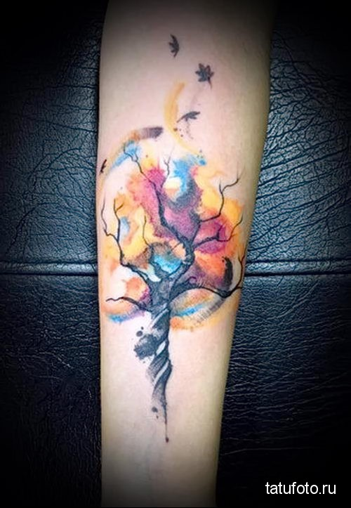 дерево и опавшие листья - тату акварель фото