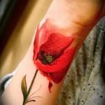 красный мак на руку - тату акварель фото