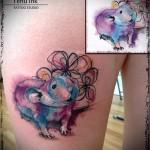 маленькая мышка - тату акварель фото