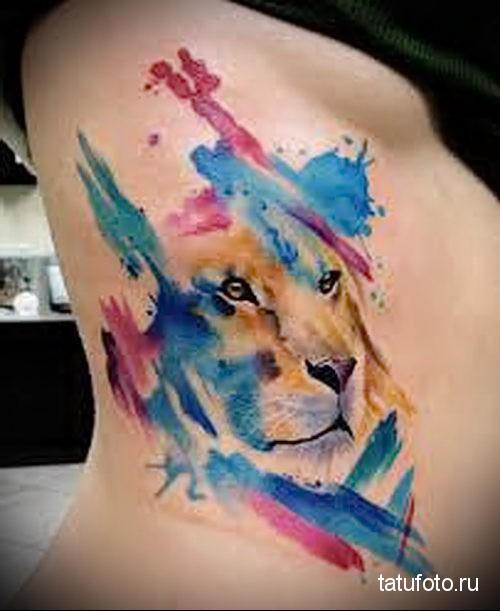 морда льва - тату акварель фото
