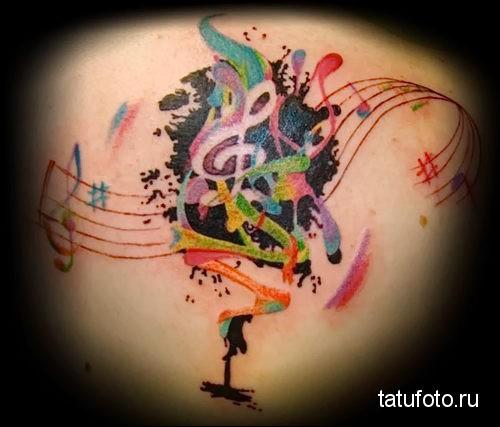 ноты и скрипичный ключик - тату акварель фото