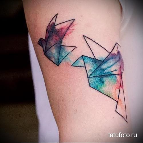 оригами из бумаги птички - тату акварель фото