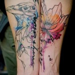 птица и цветок - тату акварель фото