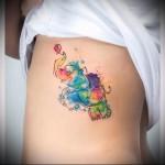 слоник с воздушным шариком из сердечка - тату акварель фото