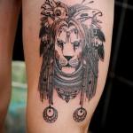 тату лев на ноге - индейское тату