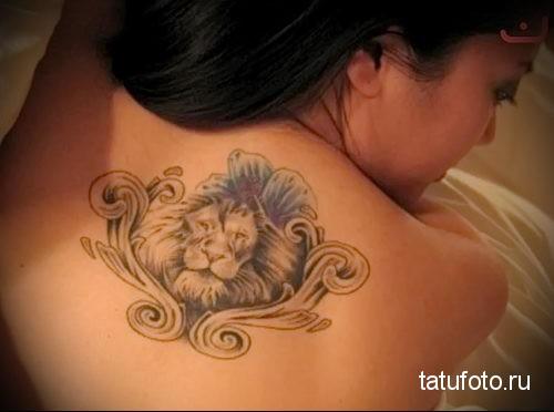 тату лев на спине - для девушки