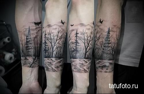 фото татуировки лес на руке