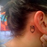 тату маленькие совы - вариант за правое ухо девушке