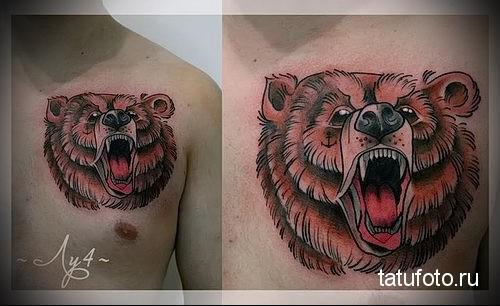 тату медведя на груди 3