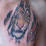 тату оскал тигра на груди