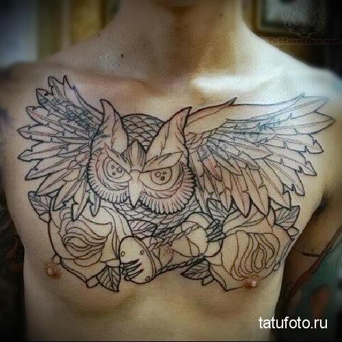 тату сова на груди 2