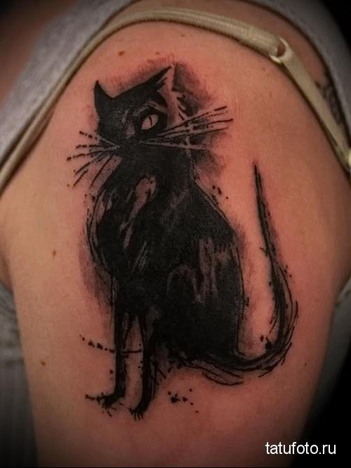 тату черный кот на женском плече