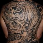 тигр и дракон тату на всю спину для парня