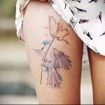 цветок на ноге под убкой - тату акварель фото