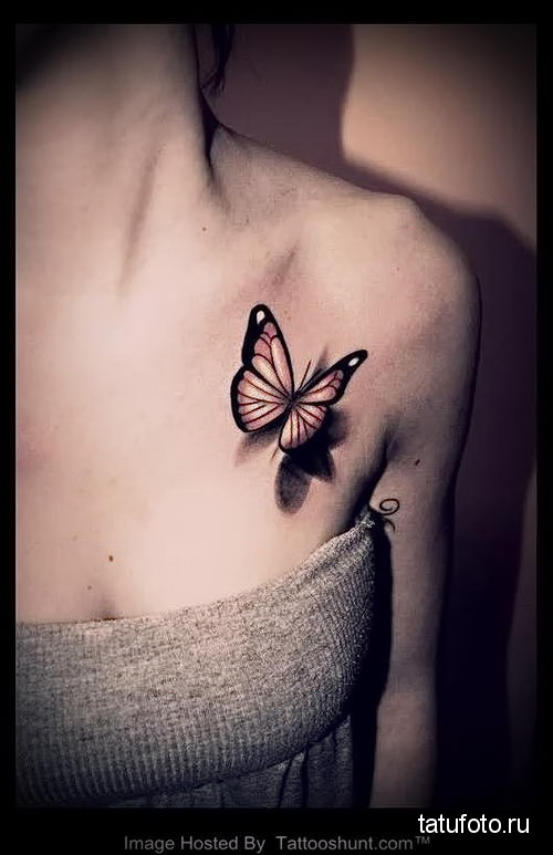 бабочка на ключице тату 1