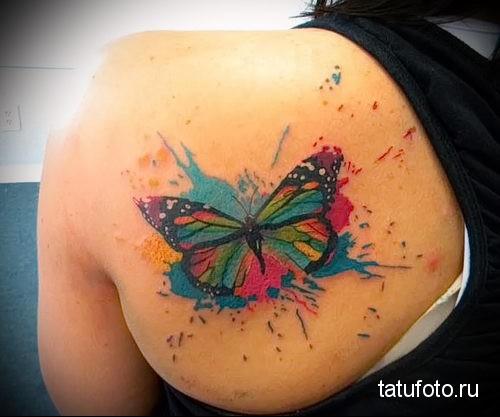 бабочка на лопатке - тату акварель фото
