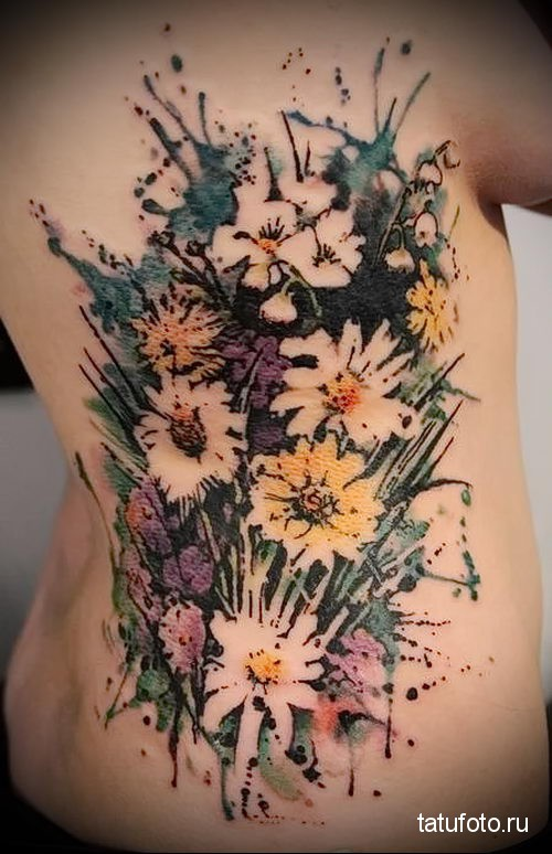 букет цветоа - тату акварель фото