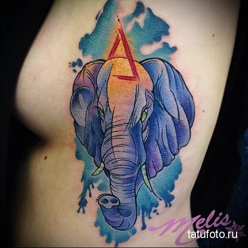 голубой слон и треугольник - тату акварель фото