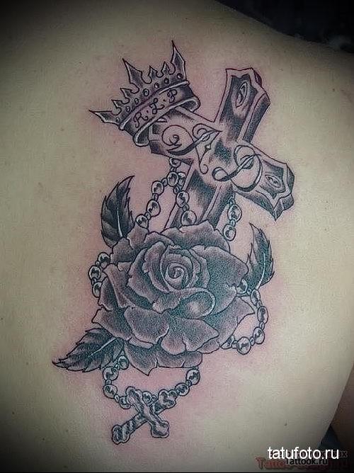 крест и роза тату 2
