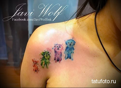 разноцветные собачки - тату акварель фото