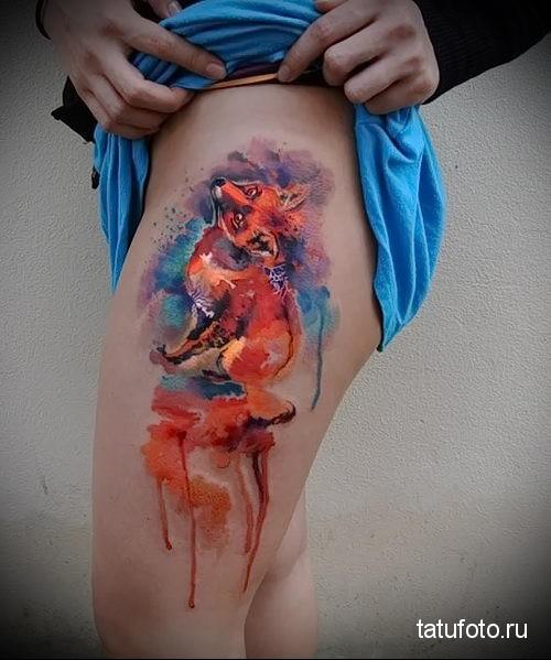 рыжая лиса на ноге для девушки - тату акварель фото