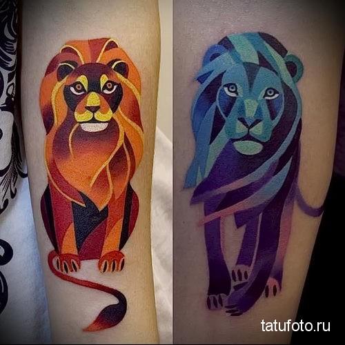 синий и желтый лев - парная тату акварель фото