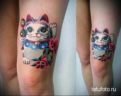 смешной котик - тату акварель фото