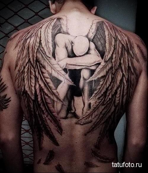 тату ангела на спине 1