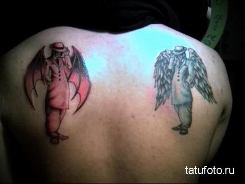 тату ангел и дьявол 1