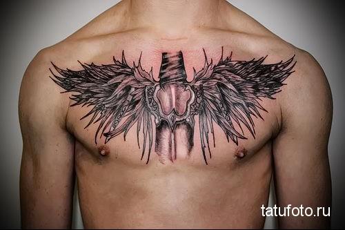 тату ангел на груди 4