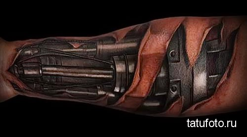 3D biomechanical very beautiful tattoo on someone's arm looks so real and amazing. This illustrates the power of someone who has a machine like a bionic hand.