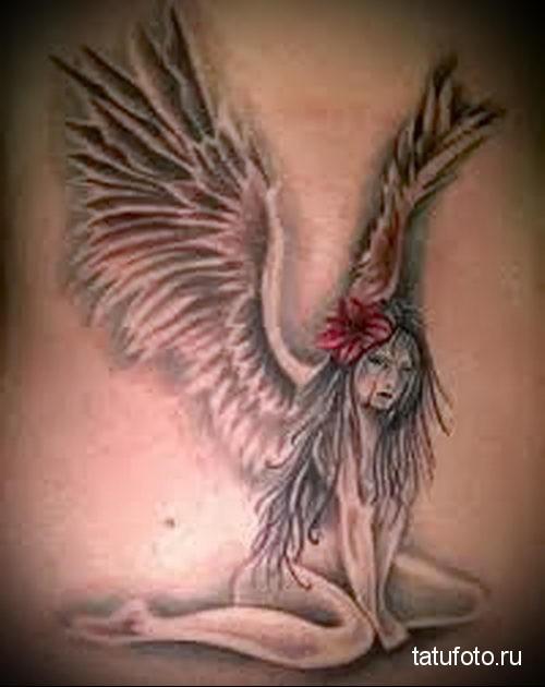 тату девушка ангел 3