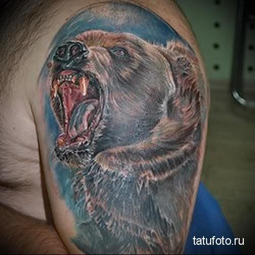 тату злой медведь 1