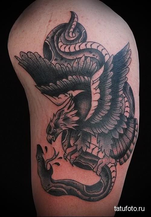 тату змея орел 2