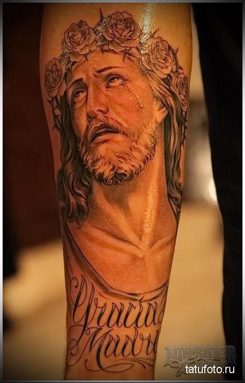тату иисус на предплечье для мужчины
