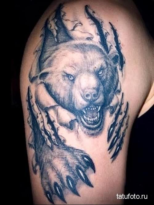 тату лапа медведя и оскал - царапины на теле