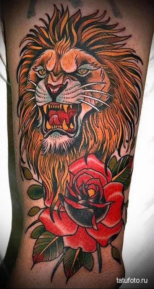 тату лев на ноге с розой