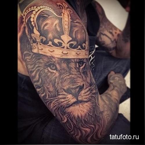 тату лев с короной рукав на руку и плечо