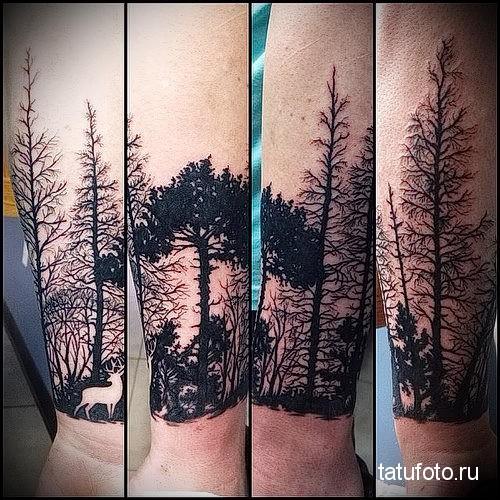 тату лес на предплечье для парня