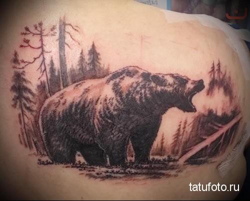 тату медведь в лесу 1