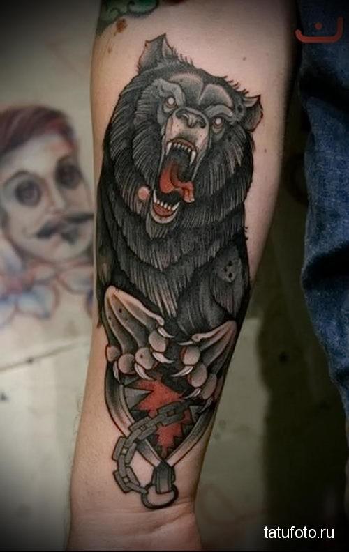 тату медведь на предплечье 1