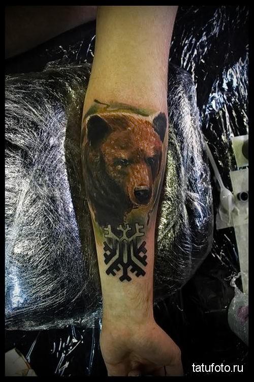 тату медведь на предплечье 3